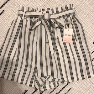 Stripe high waisted paper bag shorts